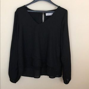 A&F black tiered blouse